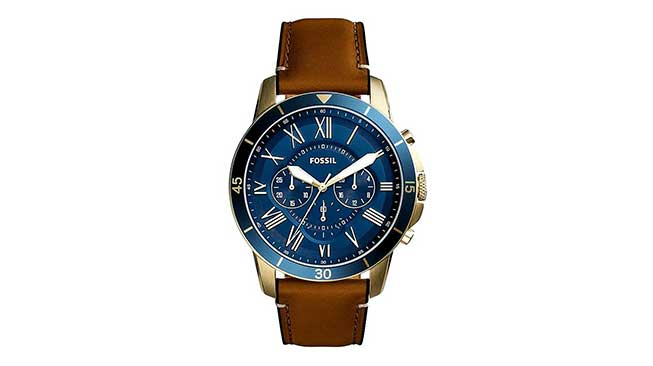 Fossil Grant Chronograph Blue Dial Genuine Leather Strap